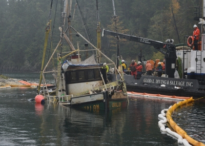 The derelict 1929 Avalon raised from Hood River canal Oct 28, 2014