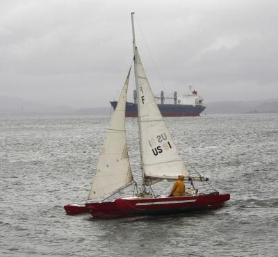picture of Peter Marsh on his catamaran
