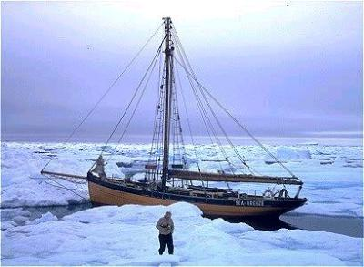 Bill Tilman's old wooden pilot cutter moored to the pack ice in 1971 in Greenland--after I quit in Iceland.