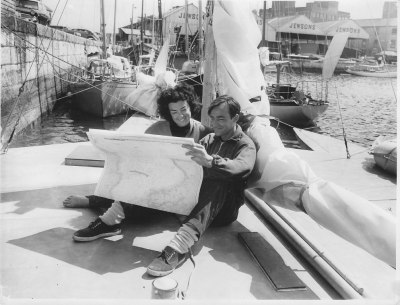 Derek and Claire Kelsall on the deck of the 35' Piver trimaran before the race start.