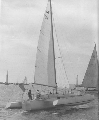 Toria, the first modern trimaran, which I helped to build during my college vacation in 1966.
