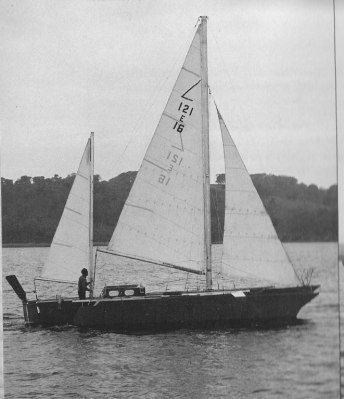 Derek Kelsall's 35' trimaran was the fastest boat in the OSTAR, but had to return to Plymouth to repair a broken rudder.