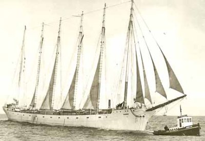 The Tango was towed across the Columbia Bar and into the Pacific.