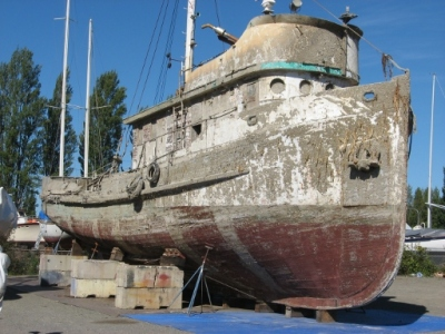 The fishing vessel once used by Steinbeck and Ricketts has become a derelict.