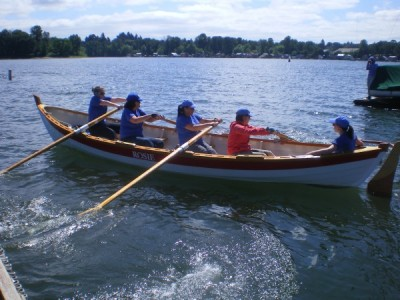skiff rowing after launch